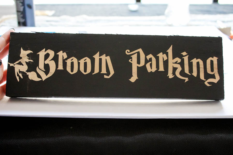 DIY Broom Parking Sign For Halloween